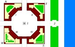 Plan du palais d'Amalienborg au Danemark. Source : http://data.abuledu.org/URI/50c7b163-plan-du-palais-d-amalienborg-au-danemark