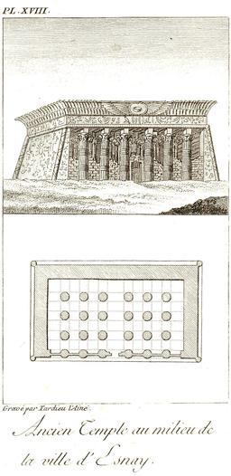 Plan du temple de Knoum à Esna en 1799. Source : http://data.abuledu.org/URI/591e31af-plan-du-temple-de-knoum-a-esna-en-1799