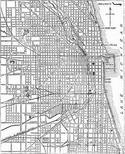Plan en damier du centre de Chicago. Source : http://data.abuledu.org/URI/555f6192-plan-en-damier-du-centre-de-chicago