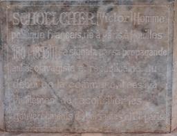 Plaque commémorative de Victor Schoelcher à Pondichéry. Source : http://data.abuledu.org/URI/5295f041-plaque-commemorative-de-victor-schoelcher-a-pondichery