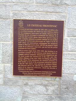 Plaque commémorative du Château Frontenac à Québec. Source : http://data.abuledu.org/URI/53569931-plaque-commemorative-du-chateau-frontenac-a-quebec