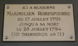 Plaque de Robespierre. Source : http://data.abuledu.org/URI/50afc3ba-plaque-de-robespierre