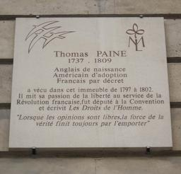Plaque de Thomas Paine à Paris. Source : http://data.abuledu.org/URI/507287c6-plaque-de-thomas-paine-a-paris