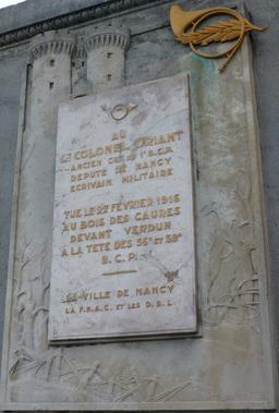 Plaque du colonel Driant à Nancy. Source : http://data.abuledu.org/URI/581a45d7-plaque-du-colonel-driant-a-nancy