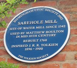 Plaque en anglais du moulin de Tolkien. Source : http://data.abuledu.org/URI/50e0ce8e-plaque-en-anglais-du-moulin-de-tolkien