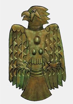 Plaque en cuivre mississipienne. Source : http://data.abuledu.org/URI/51211334-plaque-en-cuivre-mississipienne