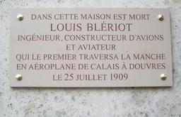 Plaque Louis Blériot à Paris. Source : http://data.abuledu.org/URI/52fe0e83-plaque-louis-bleriot-a-paris