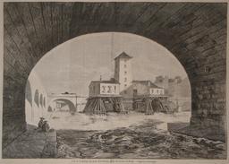 Pompe du pont Notre Dame en 1857. Source : http://data.abuledu.org/URI/52e41b26-pompe-du-pont-notre-dame-en-1857