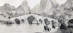 Pont du Kizil Hauzen en Iran en 1840. Source : http://data.abuledu.org/URI/53df63f0-pont-du-kizil-hauzen-en-iran-en-1840