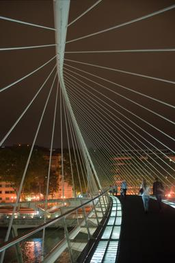 Pont piétonnier de Zubizuri à Bilbao de nuit. Source : http://data.abuledu.org/URI/541462e2-pont-pietonnier-de-zubizuri-a-bilbao-de-nuit