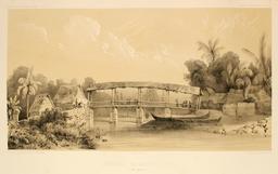 Pont sur la rivière de Batou-Mera en 1838. Source : http://data.abuledu.org/URI/59815921-pont-sur-la-riviere-de-batou-mera-en-1838