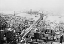 Ponts entre Brooklyn et Manhattan à NY en 1916. Source : http://data.abuledu.org/URI/589e66e9-ponts-entre-brooklyn-et-manhattan-en-1916