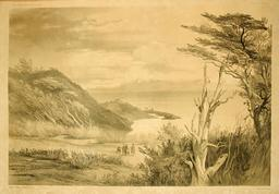 Port-Famine, détroit de Magellan en 1837. Source : http://data.abuledu.org/URI/59803c01-port-famine-detroit-de-magellan-en-1837