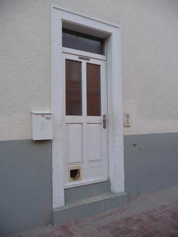 Porte blanche vitrée avec chatière. Source : http://data.abuledu.org/URI/50426bcc-porte-blanche-vitree-avec-chatiere