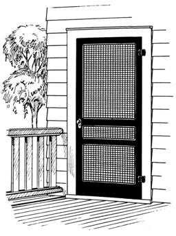 Porte d'entrée de maison avec grille. Source : http://data.abuledu.org/URI/53e93699-porte-d-entree-de-maison-avec-grille