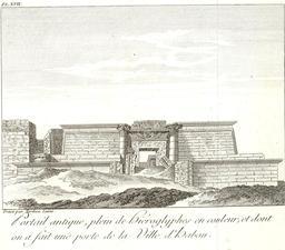 Porte du temple d'Amon en 1799. Source : http://data.abuledu.org/URI/591e3081-porte-du-temple-d-amon-en-1799