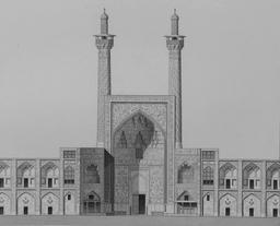 Porte principale de Masjid Shah en 1840. Source : http://data.abuledu.org/URI/56520805-porte-principale-de-masjid-shah-en-1840