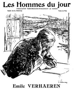 Portrait d'Émile Verhaeren en 1909. Source : http://data.abuledu.org/URI/591b74d5-portrait-d-emile-verhaeren-en-1909