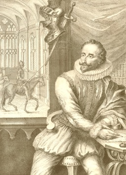 Portrait de Cervantes en 1738. Source : http://data.abuledu.org/URI/57057645-portrait-de-cervantes-en-1738