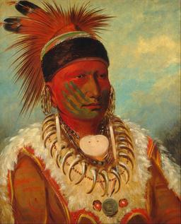 Portrait de chef indien des Iowas en 1844. Source : http://data.abuledu.org/URI/5356826f-portrait-de-chef-indien-des-iowas-en-1844