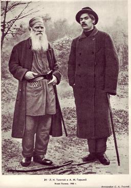 Portrait de Léon Tolstoï et Maxime Gorky en 1900. Source : http://data.abuledu.org/URI/5372873f-portrait-de-leon-tolstoi-et-maxime-gorky-en-1900