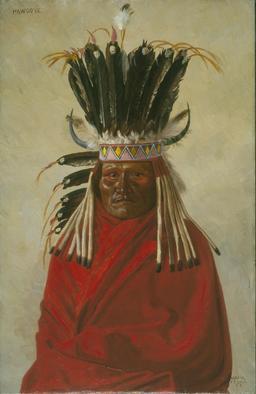 Portrait du chef indien Silver Horn en 1898. Source : http://data.abuledu.org/URI/535647f8-portrait-du-chef-indien-silver-horn-en-1898
