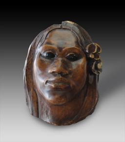 Portrait en bois de Tehura. Source : http://data.abuledu.org/URI/52b7f1ef-portrait-en-bois-de-tehura