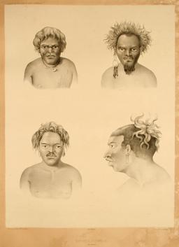 Portraits de Mélanésiens en 1838. Source : http://data.abuledu.org/URI/59810541-portraits-de-melanesiens-en-1838