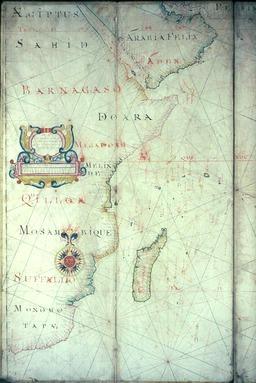 Portulan de l'Océan Indien en 1684. Source : http://data.abuledu.org/URI/582f710a-portulan-de-l-ocean-indien-en-1684