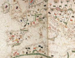 Portulan du XVème siècle. Source : http://data.abuledu.org/URI/50885013-portulan-du-xveme-siecle