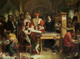 Premier spécimen d'imprimerie en Angleterre. Source : http://data.abuledu.org/URI/5060e2b4-premier-specimen-d-imprimerie-en-angleterre