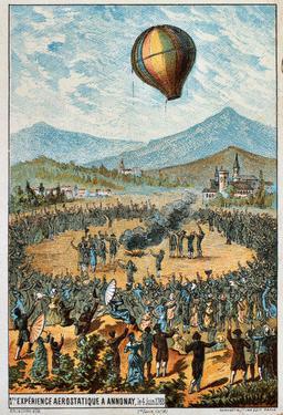 Première expérience aérostatique à Annonay en 1783. Source : http://data.abuledu.org/URI/51b03dfd-premiere-experience-aerostatique-a-annonay-en-1783