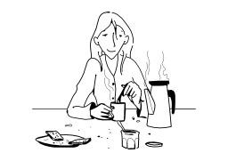 Prendre son petit déjeuner. Source : http://data.abuledu.org/URI/50278433-prendre-son-petit-dejeuner