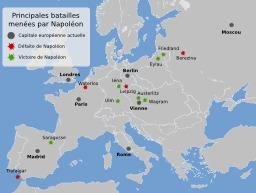 Principales batailles napoléoniennes entre 1805 et 1815. Source : http://data.abuledu.org/URI/52c8978d-principales-batailles-napoleoniennes-entre-1805-et-1815