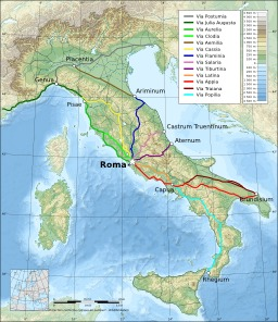 Principales voies romaines en Italie. Source : http://data.abuledu.org/URI/518549f6-principales-voies-romaines-en-italie