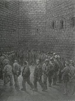 Prison de Newgate à Londres en 1872. Source : http://data.abuledu.org/URI/5630a775-prison-de-newgate-a-londres-en-1872