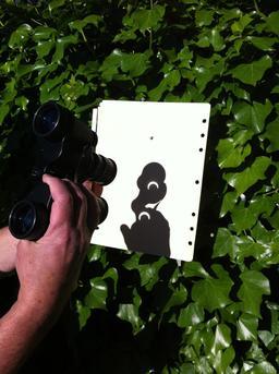 Projection d'éclipse solaire à travers des jumelles. Source : http://data.abuledu.org/URI/550d6fc3-projection-d-eclipse-solaire-a-travers-des-jumelles