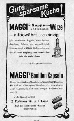 Publicité en allemand pour Maggi en 1903. Source : http://data.abuledu.org/URI/529f0567-publicite-en-allemand-pour-maggi-en-1903