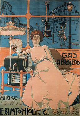 Publicité italienne pour le gas aérogène en 1902. Source : http://data.abuledu.org/URI/57067856-publicite-italienne-pour-le-gas-aerogene-en-1902