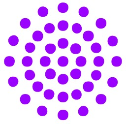 Quarante-et-un points violets en cercles. Source : http://data.abuledu.org/URI/54358864-quarante-et-un-points-violets-en-cercles