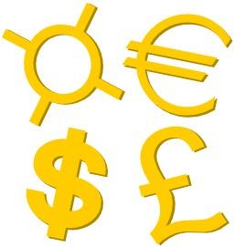 Quatre symboles monétaires. Source : http://data.abuledu.org/URI/51be1ad7-quatre-symboles-monetaires