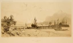 Rade d'Amboine dans les Moluques en 1838. Source : http://data.abuledu.org/URI/598157c8-rade-d-amboine-dans-les-moluques-en-1838
