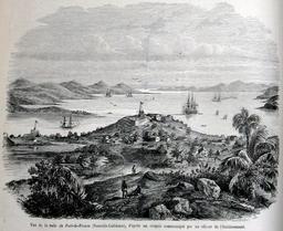 Rade de Port-de-France en Nouvelle-Calédonie en 1857. Source : http://data.abuledu.org/URI/52e4172c-rade-de-port-de-france-en-nouvelle-caledonie-en-1857