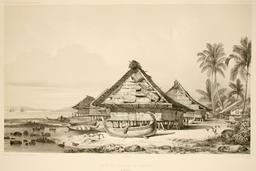 Rade et village de Warrou dans les Moluques en 1838. Source : http://data.abuledu.org/URI/598166d9-rade-et-village-de-warrou-dans-les-moluques-en-1838