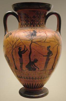 Récole d'olives dans l'antiquité. Source : http://data.abuledu.org/URI/505a3c84-recole-d-olives-dans-l-antiquite