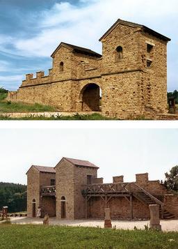 Reconstitution d'un fort romain en Germanie. Source : http://data.abuledu.org/URI/56c5a1e6-reconstitution-d-un-fort-romain-en-germanie