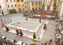 Reconstitution historique d'un jeu de l'oie italien. Source : http://data.abuledu.org/URI/53cd41ca-reconstitution-historique-d-un-jeu-de-l-oie-italien