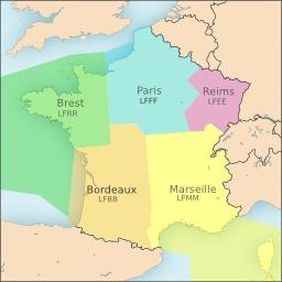 Régions d'information de vol en France. Source : http://data.abuledu.org/URI/50b126be-regions-d-information-de-vol-en-france
