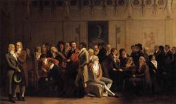 Rencontre d'artistes dans le studio du peintre Isabey. Source : http://data.abuledu.org/URI/51d93c7f-rencontre-d-artistes-dans-le-studio-du-peintre-isabey