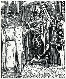 Rencontre du roi Arthur et de Dame Guenièvre en 1903. Source : http://data.abuledu.org/URI/59504156-rencontre-du-roi-arthur-et-de-dame-guenievre-en-1903